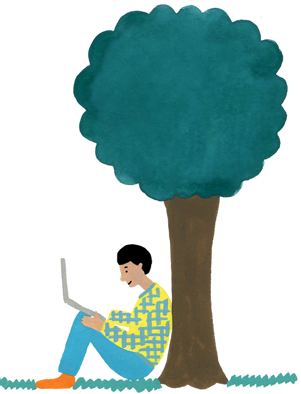 Watercolor painting of a person sitting under a tree using a laptop, drawn